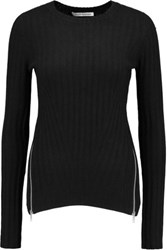 Autumn Cashmere Zip Detailed Ribbed Knit Sweater Black