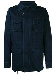 Yves Salomon Homme Denim Military Jacket Blue