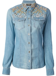 Roberto Cavalli Crystal Embellished Denim Shirt Blue