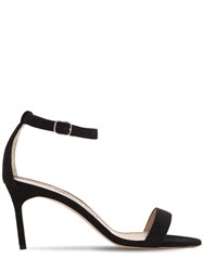 Manolo Blahnik 70Mm Chaos Suede Sandals Black