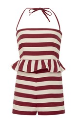 Red Valentino Striped Ruffle Romper