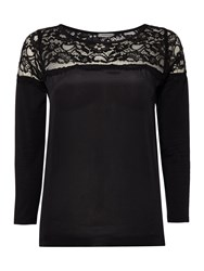 Marella Balance 3 4 Sleeve Lace Woven Top Black