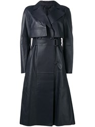 Sportmax Leather Trench Coat Blue