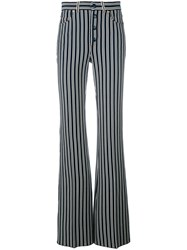 Sonia Rykiel Striped Flared Trousers Women Cotton Polyester 36 Blue