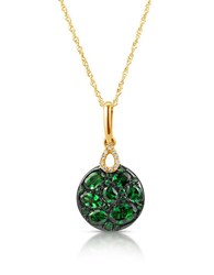 Marco Moore Tsavorite Diamond And 14K Yellow Gold Pendant Necklace Green