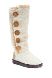 Muk Luks Jazlyn Faux Fur Lined Sweater Boot White