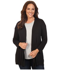 B Collection By Bobeau Curvy Plus Size Keegan Woven Back Cardigan Black Women's Sweater