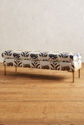 Anthropologie Fan Woven Edlyn Bench White