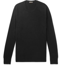 Berluti Leather Trimmed Cashmere Sweater Black