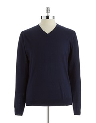 Vince Camuto Wool V Neck Sweater Blue