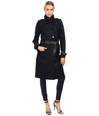 The Kooples Long Belted Trench Coat Dark Navy