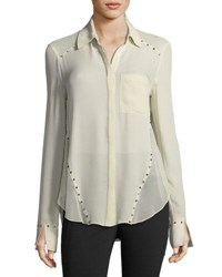 Haute Hippie Rioting Star Button Front Silk Blouse With Studded Trim Antique White