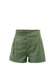 Frame High Rise Cotton Shorts Khaki