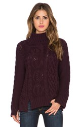 525 America Mixed Stitch Mockneck Cable Knit Sweater Wine