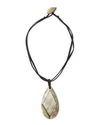 Viktoria Hayman Faceted Mother Of Pearl Pendant Necklace Black