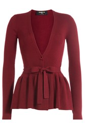 Paule Ka Wool Cardigan With Peplum Red