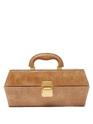 Staud Lincoln Crocodile Effect Leather Box Bag Camel