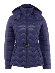 Armani Exchange Belted Padded Coat In Evening Blue Blue