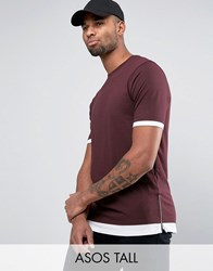 Asos Tall Longline T Shirt With Contrast Cuff And Hem And Side Zips Oxblood White Red