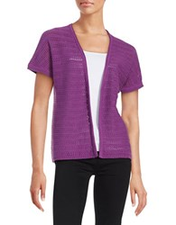 Context Open Front Knit Cardigan Purple Henna