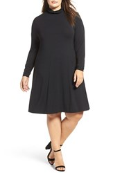 Tart Plus Size Women's Sally Turtleneck A Line Dress Black