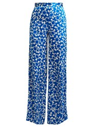 Duro Olowu Ivy Silk Trousers Blue White