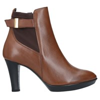 Carvela Comfort Rae Cone Heeled Ankle Boots Brown Leather
