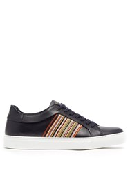Paul Smith Artist Stripe Leather Low Top Trainers Navy