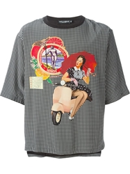 Dolce And Gabbana Pin Up Girl Print T Shirt Black