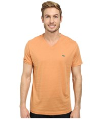 Lacoste S S Pima Jersey V Neck T Shirt Pumpkin Men's Short Sleeve Pullover Orange