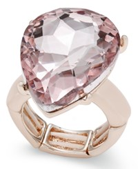 Thalia Sodi Rose Gold Tone Pink Crystal Stretch Ring Only At Macy's