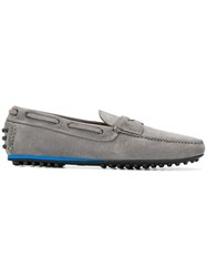 Car Shoe Pebbled Sole Loafers Grey