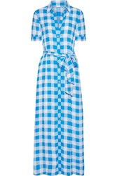 Draper James Gingham Crepe De Chine Maxi Dress Azure