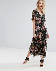 Mango Floral Wrap Midi Dress Multi