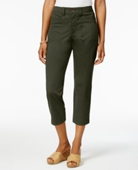 Style And Co Patch Pocket Capri Pants Only At Macy's Evening Olive