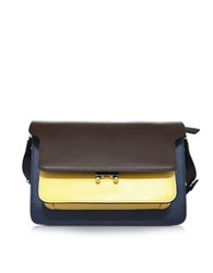 Marni Coffee Maize Yellow And Night Blue Saffiano Leather Trunk Bag Brown