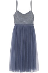 Needle And Thread Coppelia Embellished Gauze Tulle Midi Dress Blue