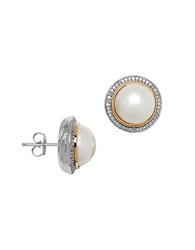 Lord And Taylor 11Mm White Pearl Diamond And 14K Yellow Gold Stud Earrings Silver