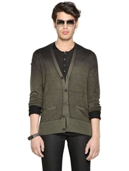 John Varvatos Wool Cashmere And Silk Cardigan Olive Green