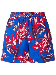 P.A.R.O.S.H. Floral Relaxed Shorts Blue
