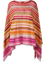 Missoni Zig Zag Crochet Knit Poncho Women Cotton One Size Red