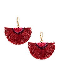 Shashi Sophie 18K Gold Plated Vermeil Sterling Silver Fan Earrings Red