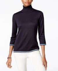 Tommy Hilfiger Colorblocked Turtleneck Sweater Only At Macy's Midnight