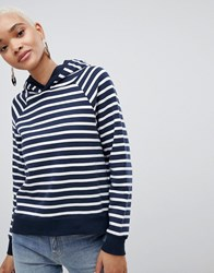 Selected Striped Over Head Hoodie Navy