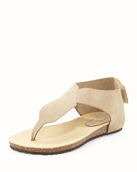 Neiman Marcus Made In Italy Arya Suede Thong Sandal Nude