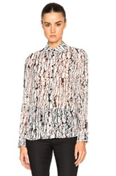 Carven Printed Georgette Top In White Abstract