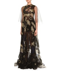 Valentino Cosmic Embroidered Sheer Tulle Gown