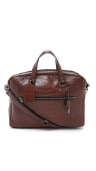Marc By Marc Jacobs Embossy Croc Johnny Briefcase Dark Sepia Brown