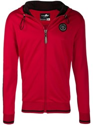 Plein Sport Contrast Zipped Jacket Red