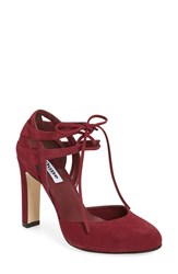 Dune Women's London 'Cannes' Lace Up D'orsay Pump Burgundy Suede